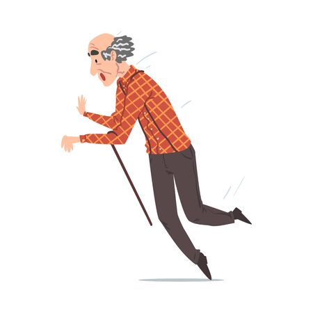 Elderly Man Falling Down on the Floor, Retired Person Falling with Walking Cane, Accident, Pain or Injury Cartoon Style Vector Illustration I on White Background