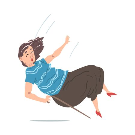 Elderly Woman with Walking Cane Falling Down on the Floor, Retired Person Falling on Her Hip, Accident, Pain or Injury Cartoon Style Vector Illustration on White Background Vecteurs
