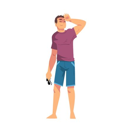 Relaxed Young Man, Lounging Male Character Wearing Tshirts and Shorts Ready to Enjoy His Leisure Vacation, Summer Holidays and Traveling Cartoon Vector Illustration