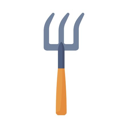 Small Fork, Agriculture Work Equipment, Garden Tool Flat Style Vector Illustration on White Background