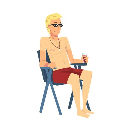 Relaxed Young Man Sitting in Beach Chair and Drinking Cocktail, Lounging Male Character Enjoying His Leisure Vacation, Summer Holidays and Traveling Cartoon Vector Illustration on White Background.