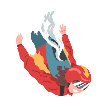 Man in Wingsuit Falling through the Air, Skydiving and Parachuting Extreme Hobby or Sport Cartoon Style Vector Illustration
