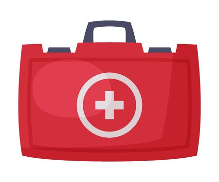First Aid Kit, Red Bag for Medical Equipment and Medications Vector Illustration on White Background