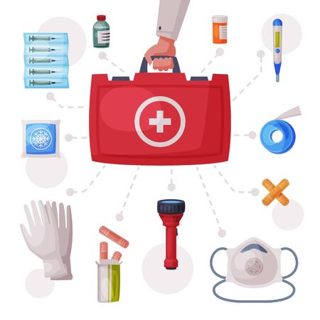 Doctors Hand Holding First Aid Kit Box with Medical Equipment and Medications, Gloves, Flashlight, Elastic Bandage, Thermometer, Plaster, Ampule, Syringe, Mask, Pills Flat Vector Illustration