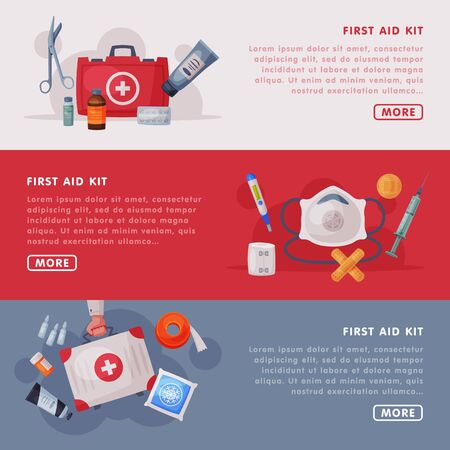 First Aid Kit Landing Page Templates Set, Medical Equipment and Medications, Emergency Service Tools Web Page, Mobile App, Homepage Vector Illustration Vettoriali