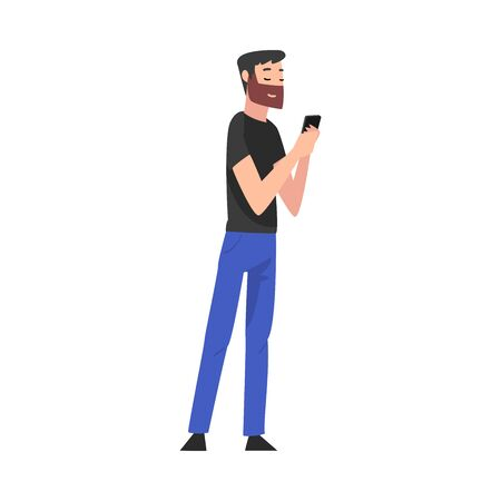 Bearded Man Standing with Smartphone, Young Man Using Digital Gadget Vector Illustration Archivio Fotografico - 150178442
