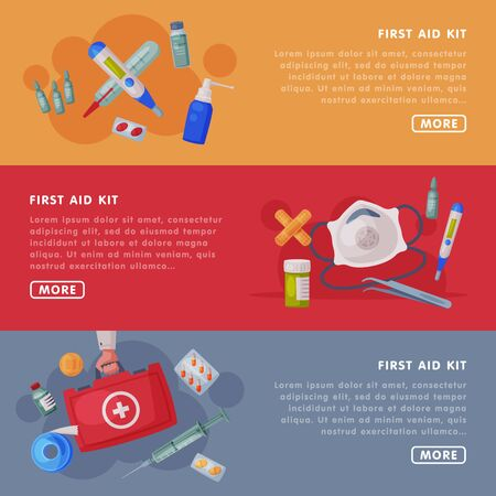 First Aid Kit, Medical Equipment and Medications Landing Page Templates Set, Emergency Service Tools Web Page, Mobile App Flat Vector Illustration Vettoriali