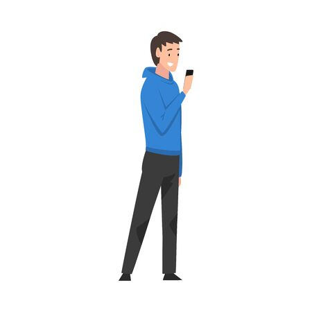 Guy Standing with Smartphone, Young Man Using Digital Gadget Vector Illustration
