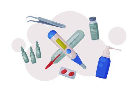 Medical Equipment and Medications, First Aid Kit Box and Emergency Service Medication Supplies for Health Treatment Set Flat Vector Illustration Vektoros illusztráció