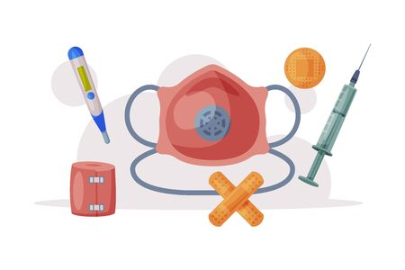 Medical Supplies for Health Treatment, First Aid Kit Equipment Flat Vector Illustration on White Background Zdjęcie Seryjne - 150178715