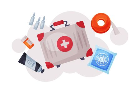 First Aid Kit with Medications and Emergency Equipment Set, Urgency Medical Service Supplies Flat Vector Illustration