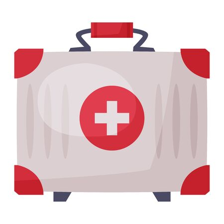 First Aid Kit, Bag for Medical Equipment and Medications Vector Illustration on White Background