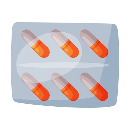Pills in Blister Pack, First Medical Aid Kit Medicine Vector Illustration on White Background