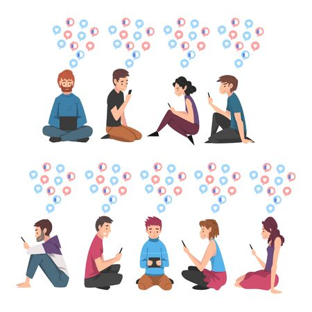 Set of People Sitting on the Floor with Digital Gadgets, Guys and Girls Using Smartphones Tablets PC to Communicating, Surfing the Internet Illustration Zdjęcie Seryjne - 150344353