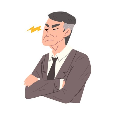 Stressed Businessman with Folded Hands, Man Working Hard Solving Business Problems Illustration Zdjęcie Seryjne - 150344355