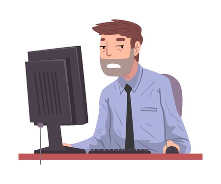 Male Office Worker Working Overtime, Overworked Businessman Sitting at Workplace in Office, Deadline Concept Illustration Zdjęcie Seryjne - 150344360