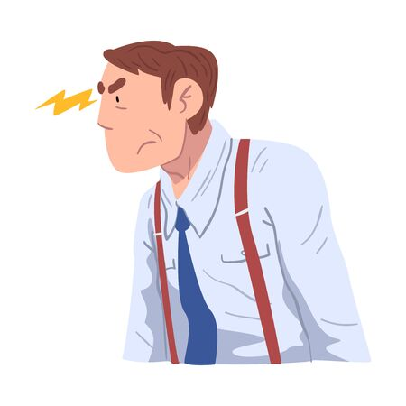 Stressed Businessman Character, Man Working Hard Solving Business Problems Illustration Zdjęcie Seryjne - 150344367