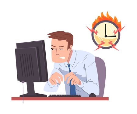 Businessman Working Overtime at Deadline, Overloaded Male Office Worker Sitting at Workplace in Office Illustration
