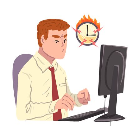 Businessman Working Overtime at Deadline, Overloaded Male Office Worker Sitting at Workplace in Office in High Stress Conditions Illustration Zdjęcie Seryjne - 150344376