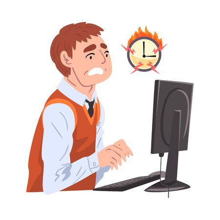 Stressed Businessman Working Overtime at Deadline, Overloaded Male Office Worker Sitting at Workplace in Office Illustration Ilustracja