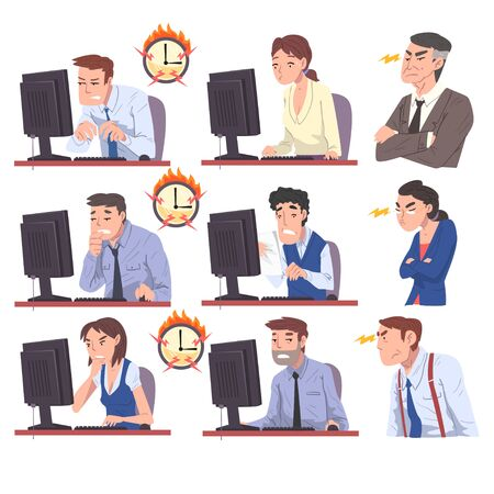 Business People Working Overtime at Deadline Set, Overloaded Office Workers Sitting at Workplace in Office in High Stress Conditions Illustration