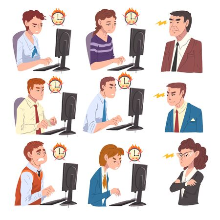 Stressed Business People Working Overtime at Deadline Set, Overloaded Office Workers Working Hard Solving Business Problems Illustration Isolated on White Background. Zdjęcie Seryjne - 150350086