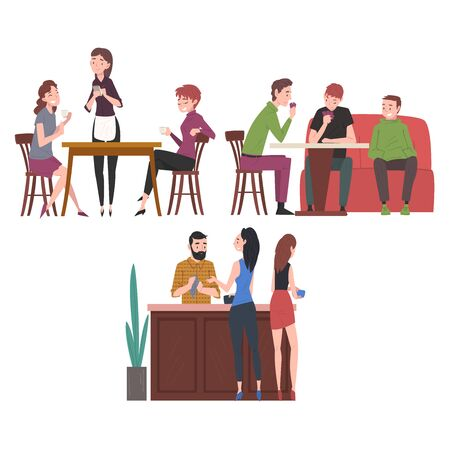 People Drinking Coffee and Relaxing at Coffeehouse or Cafe Set, Restaurant Employees and Visitors Illustration