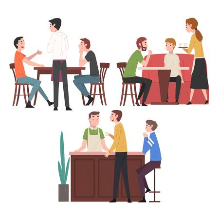 People Drinking Coffee and Relaxing at Coffeehouse or Cafe Set, Restaurant Employees Serving Visitors Illustration