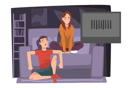 Couple Watching Movie Together on Couch, Young Man and Woman Relaxing at Home Illustration Zdjęcie Seryjne - 150344500