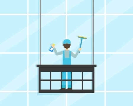 Professional Worker in Uniform Cleaning and Rubbing Facade Windows Of Building, Cleaning Service Company Flat Illustration