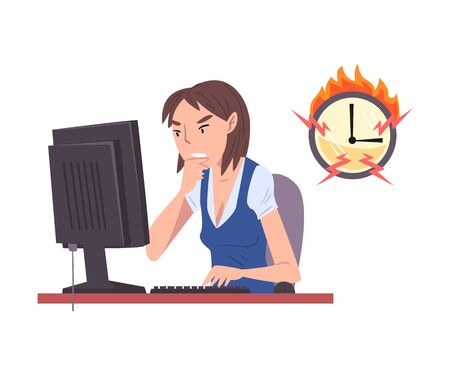 Stressed Female Employee Working Overtime, Overloaded Office Worker Sitting at Workplace in Office, Deadline, Time Pressure Illustration Zdjęcie Seryjne - 150344573