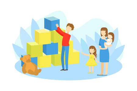 Parents and Kids Playing Together, Dad Building Pyramid of Big Toy Blocks