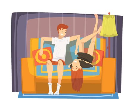 Smiling Couple Sitting on Cozy Couch in Living Room, Cute Male and Female Characters Spending Time Together, Staying at Home Illustration