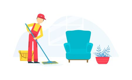 Professional Worker in Uniform Mopping the Floor, Cleaning Company Staff at Work Flat Vector Illustration