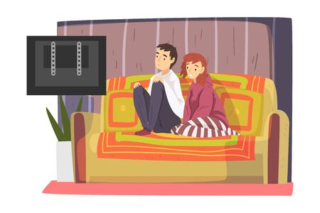 Bored Couple Sitting on Cozy Couch Watching TV, Cute Male and Female Characters Spending Time Together, Staying at Home Illustration Ilustracja
