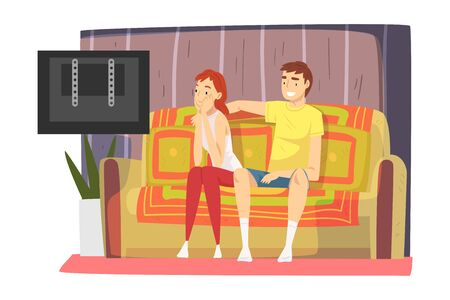 Couple Sitting on Cozy Couch in Living Room and Watching TV, Cute Male and Female Characters Spending Time Together, Staying at Home Illustration