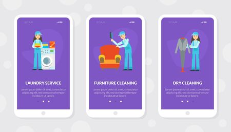 Laundry Service, Furniture and Dry Cleaning Mobile App Template, Cleaning Company Staff at Work Flat  Illustration Zdjęcie Seryjne - 150344842