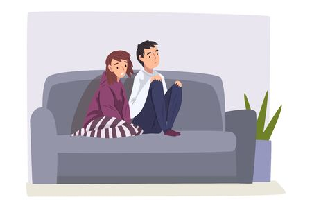 Upset Bored Family Couple Sitting on Couch, Young Man and Woman Spending Time Together at Home  Illustration