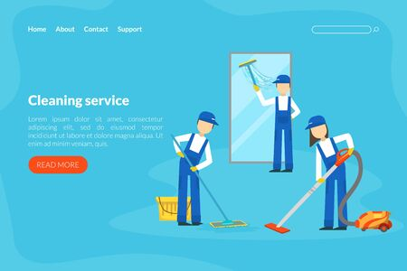 Cleaning Service Landing Page Template, Professional Workers in Uniform Cleaning Window and Mopping Floor Flat Style  Illustration Vectores