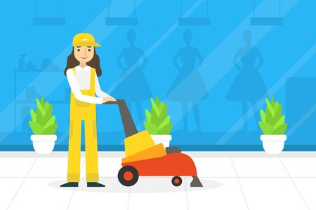 Professional Female Worker in Uniform Using Floor Cleaning Machine, Cleaning Company Staff at Work Flat  Illustration Zdjęcie Seryjne - 150344918