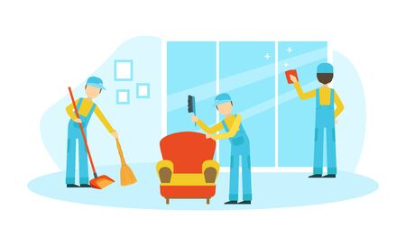 Professional Workers in Uniform Cleaning Window and Mopping Floor in Room, Cleaning Company Staff at Work Flat  Illustration