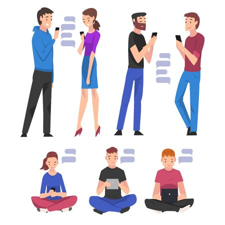 Set of People with Smartphones, Young Men and Women hatting Via Internet Using Digital Gadgets  Illustration
