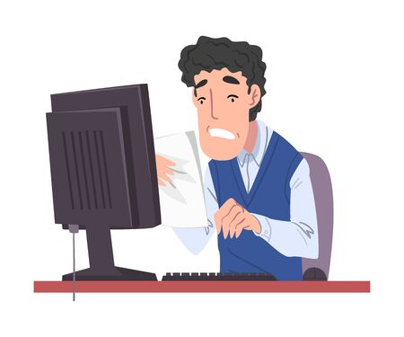Stressed Male Office Worker Working Overtime, Overworked Businessman Sitting at Workplace in Office  Illustration Zdjęcie Seryjne - 150345090