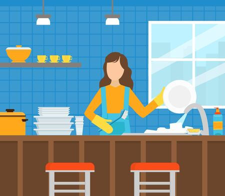 Professional Female Worker in Uniform Washing Dishes in the Kitchen, Cleaning Company Staff at Work Flat Style  Illustration. Zdjęcie Seryjne - 150349499