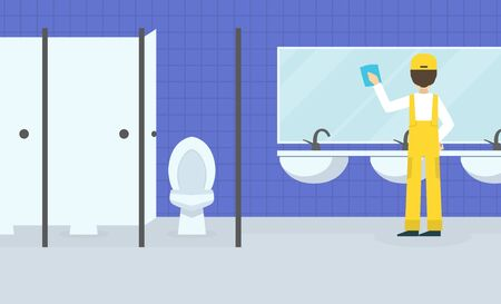 Professional Worker in Uniform Wiping Mirror in Public Toilet, Cleaning Company Staff at Work Flat  Illustration Zdjęcie Seryjne - 150351404