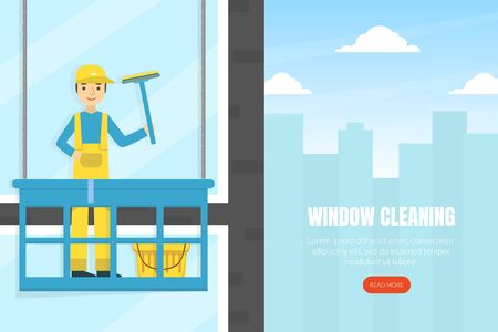Cleaning Windows Landing Page Template, Professional Worker in Uniform Cleaning and Rubing Facade Windows Of Building, Cleaning Service Company Homepage, Website Flat Style  Illustration. Zdjęcie Seryjne - 150359397