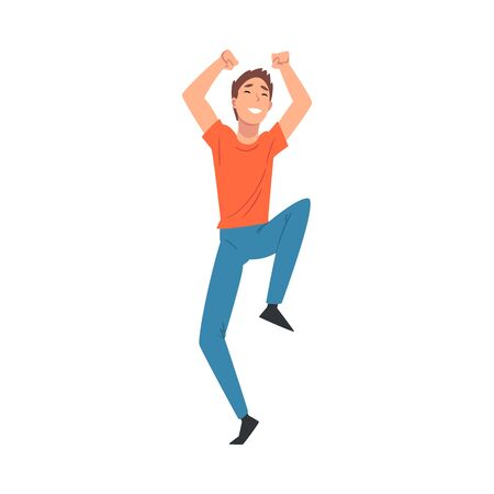 Young Cheerful Man Dancing at Concert  Illustration. Festival Entertainment Concept