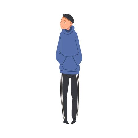 Young Lonely Guy Standing Alone Aside at Concert  Illustration. Festival Entertainment Concept Ilustracja