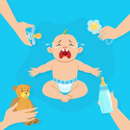 Crying Baby Banner with Place for Text, Cute Little Baby in Diaper Feeling Discomfort Vector Illustration