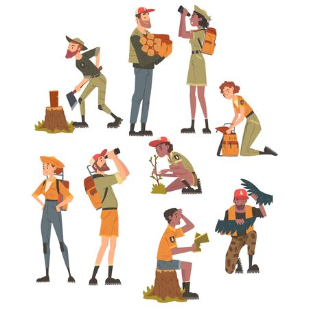 Forest Rangers at Working Set, National Park Service Employee Characters in Uniform Cartoon Style Vector Illustration